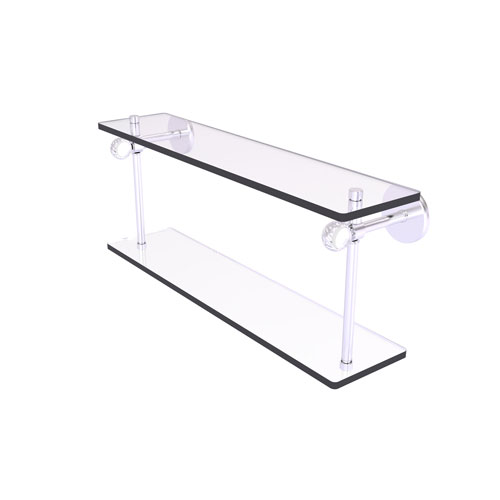 Clearview Satin Nickel 16-Inch Two Tiered Glass Shelf with Twisted Accents