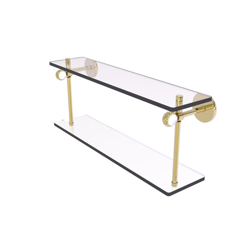 Clearview Unlacquered Brass 22-Inch Two Tiered Glass Shelf with Twisted Accents