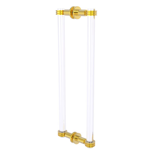 Clearview Polished Brass 18-Inch Back to Back Shower Door Pull with Dotted Accent