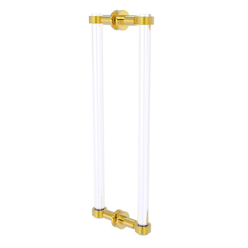 Clearview Polished Brass 18-Inch Back to Back Shower Door Pull with Groovy Accents