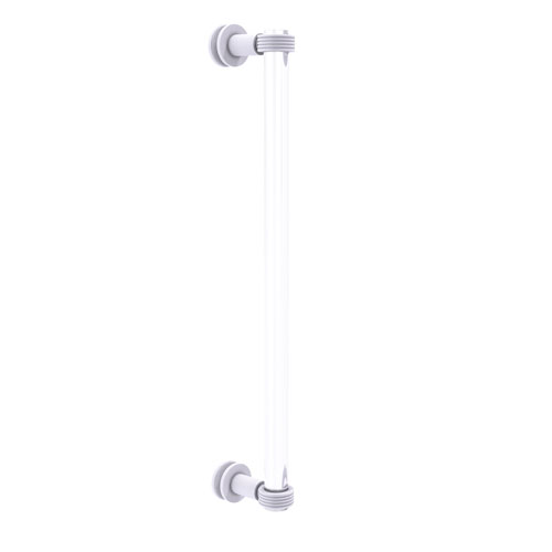 Clearview Matte White 18-Inch Single Side Shower Door Pull with Groovy Accents