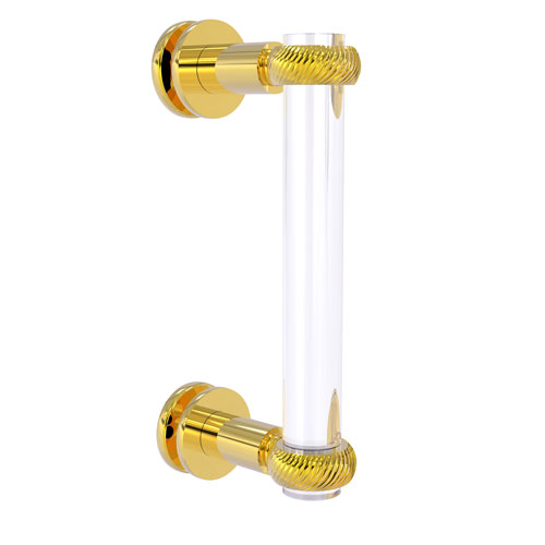 Clearview Polished Brass Eight-Inch Single Side Shower Door Pull with Twisted Accents