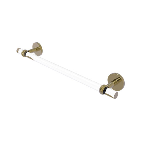 Clearview Unlacquered Brass 30-Inch Towel Bar with Twisted Accents