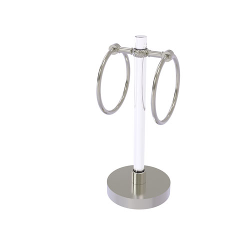 Clearview Satin Nickel Six-Inch Vanity Top Guest Towel Ring with Twisted Accents