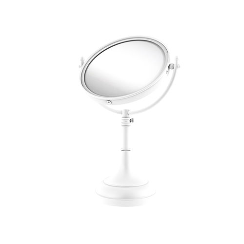 Matte White Eight-Inch Height Adjustable Vanity Top Make-Up Mirror 4X Magnification