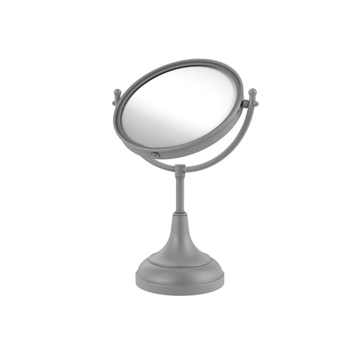 Matte Gray Eight-Inch Vanity Top Make-Up Mirror 2X Magnification