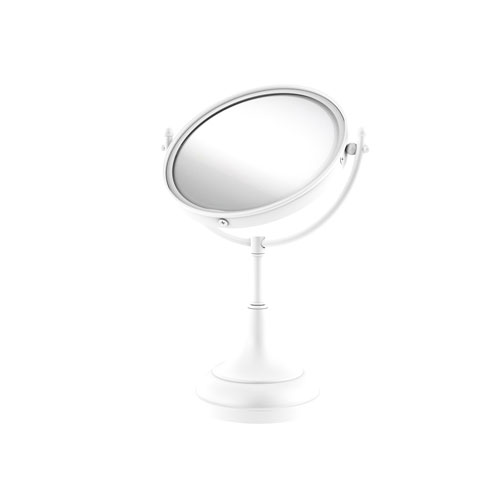 Matte White Eight-Inch Vanity Top Make-Up Mirror 4X Magnification