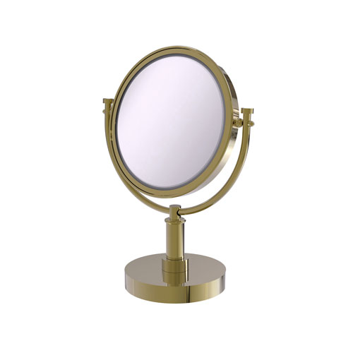 Unlacquered Brass Eight-Inch Vanity Top Make-Up Mirror with 5X Magnification
