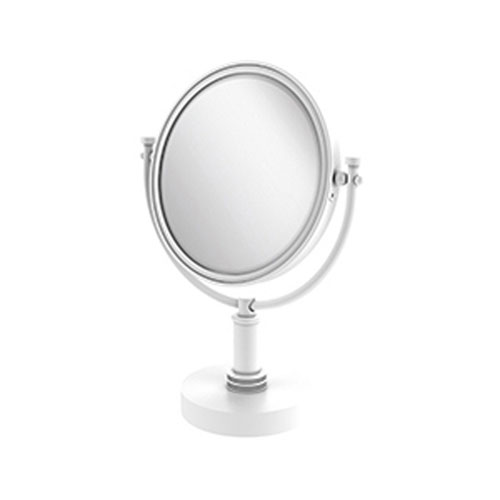 Matte White Eight-Inch Vanity Top Make-Up Mirror with 5X Magnification