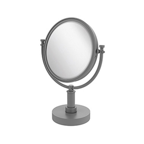 Matte Gray Eight-Inch Vanity Top Make-Up Mirror 4X Magnification