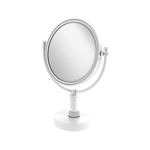 Matte White Eight-Inch Vanity Top Make-Up Mirror 3X Magnification