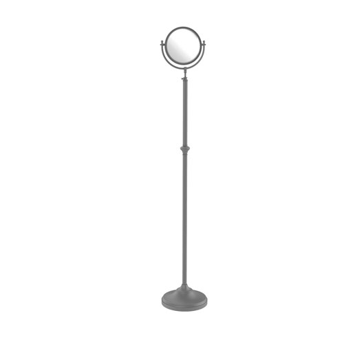 Matte Gray Eight-Inch Adjustable Height Floor Standing Make-Up Mirror with 5X Magnification