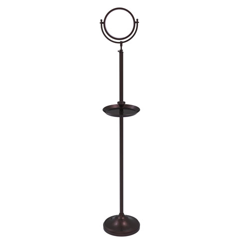 Antique Bronze Eight-Inch Floor Standing Make-Up Mirror with 5X Magnification and Shaving Tray