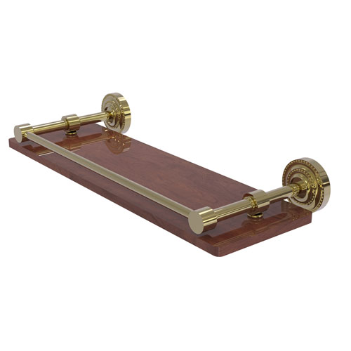 Dottingham Unlacquered Brass 16-Inch Solid IPE Ironwood Shelf with Gallery Rail