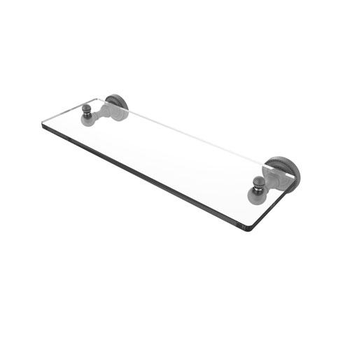Dottingham Matte Gray 16-Inch Single Glass Shelf