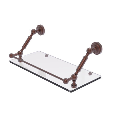 Dottingham Antique Copper 18-Inch Floating Glass Shelf with Gallery Rail