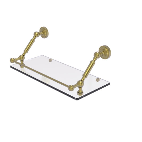 Dottingham Satin Brass 18-Inch Floating Glass Shelf with Gallery Rail