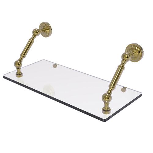 Dottingham Unlacquered Brass 18-Inch Floating Glass Shelf