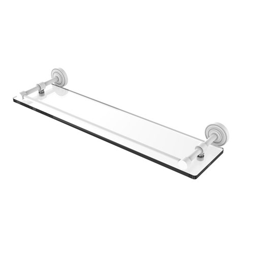 Dottingham Matte White 22-Inch Glass Shelf with Gallery Rail