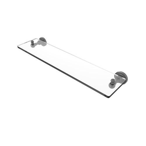 Dottingham Matte Gray 22-Inch Glass Vanity Shelf with Beveled Edges