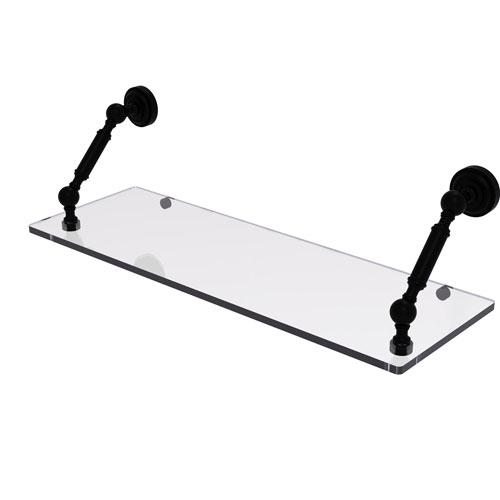 Dottingham Matte Black 24-Inch Floating Glass Shelf