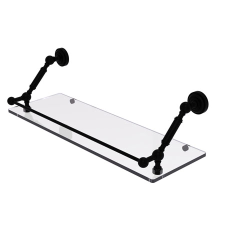 Dottingham Matte Black 24-Inch Floating Glass Shelf with Gallery Rail