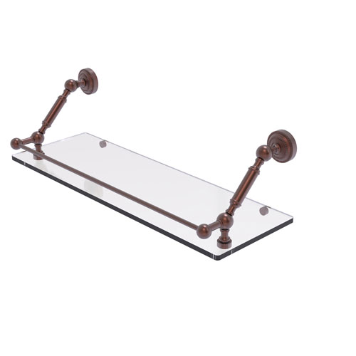 Dottingham Antique Copper 24-Inch Floating Glass Shelf with Gallery Rail