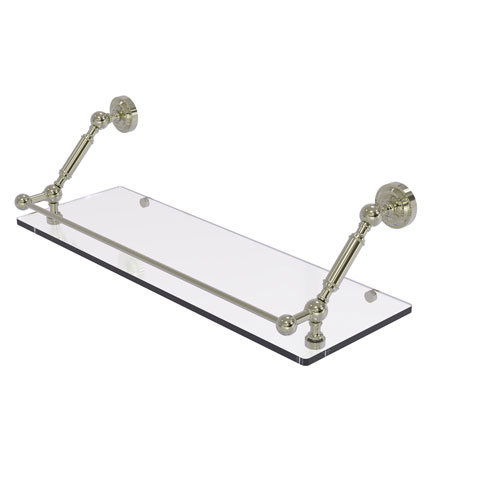 Dottingham Polished Nickel 24-Inch Floating Glass Shelf with Gallery Rail