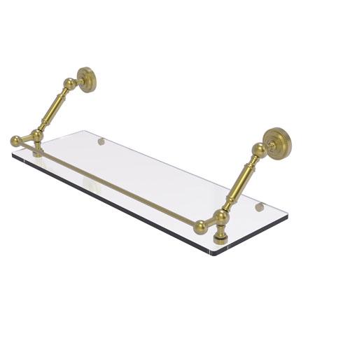 Dottingham Satin Brass 24-Inch Floating Glass Shelf with Gallery Rail