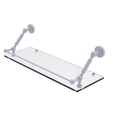Dottingham Matte White 24-Inch Floating Glass Shelf with Gallery Rail