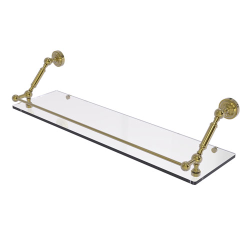 Dottingham Unlacquered Brass 30-Inch Floating Glass Shelf with Gallery Rail