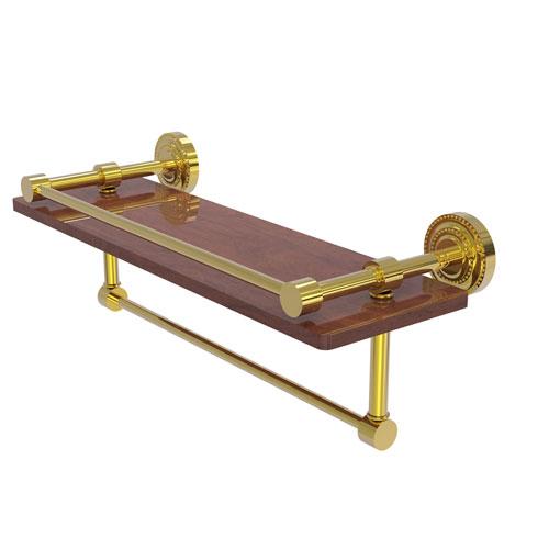 Dottingham Polished Brass 16-Inch IPE Ironwood Shelf with Gallery Rail and Towel Bar