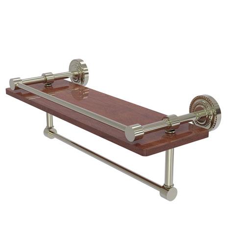 Dottingham Polished Nickel 16-Inch IPE Ironwood Shelf with Gallery Rail and Towel Bar