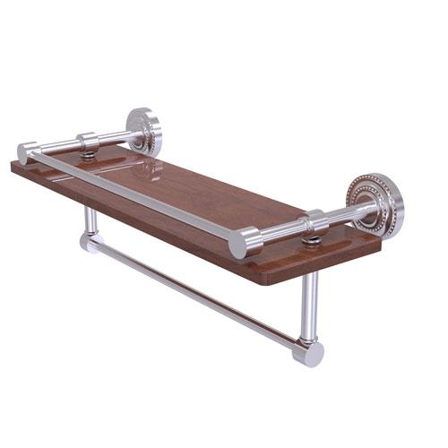 Dottingham Satin Chrome 16-Inch IPE Ironwood Shelf with Gallery Rail and Towel Bar