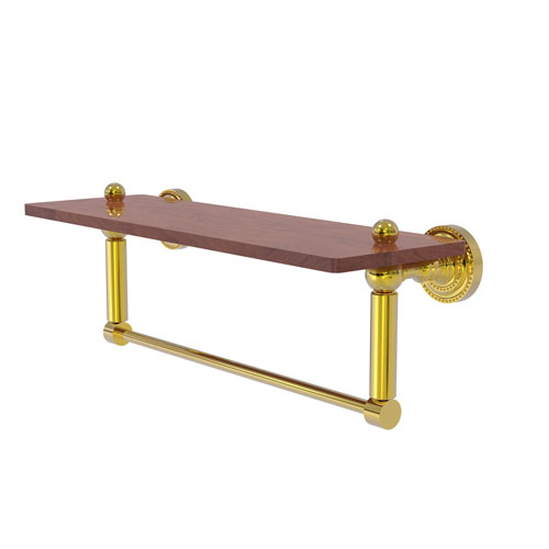 Dottingham Polished Brass 16-Inch Solid IPE Ironwood Shelf with Integrated Towel Bar