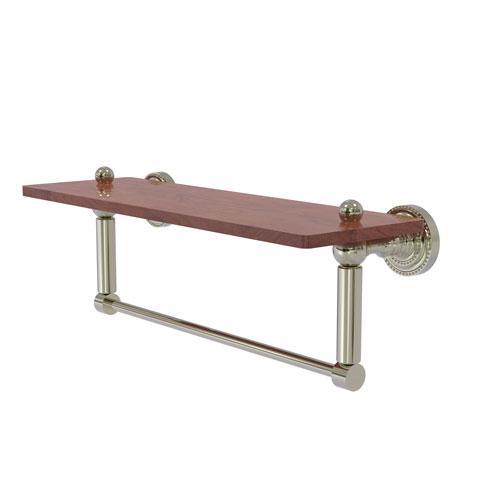 Dottingham Polished Nickel 16-Inch Solid IPE Ironwood Shelf with Integrated Towel Bar