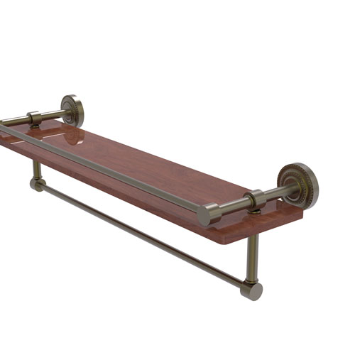 Dottingham Antique Brass 22-Inch IPE Ironwood Shelf with Gallery Rail and Towel Bar