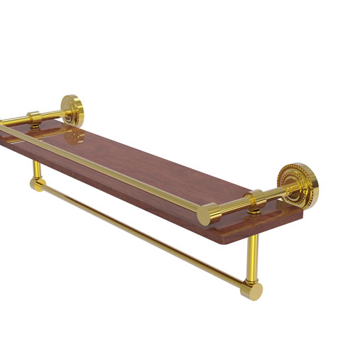 Dottingham Polished Brass 22-Inch IPE Ironwood Shelf with Gallery Rail and Towel Bar