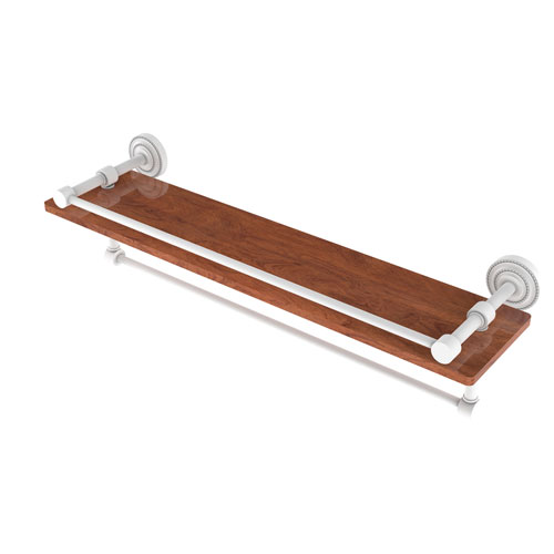 Dottingham Matte White 22-Inch IPE Ironwood Shelf with Gallery Rail and Towel Bar
