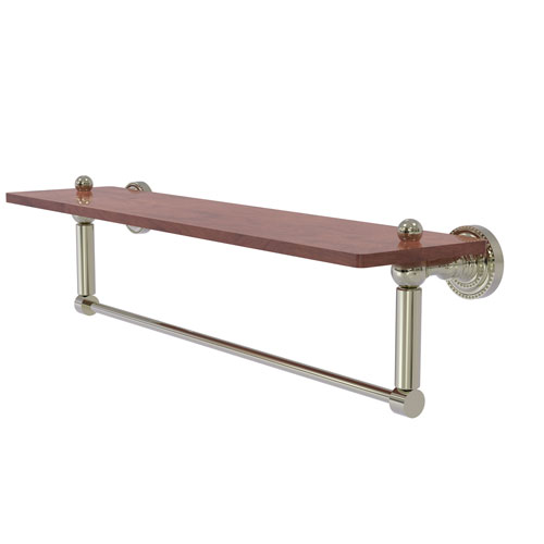 Dottingham Polished Nickel 22-Inch Solid IPE Ironwood Shelf with Integrated Towel Bar