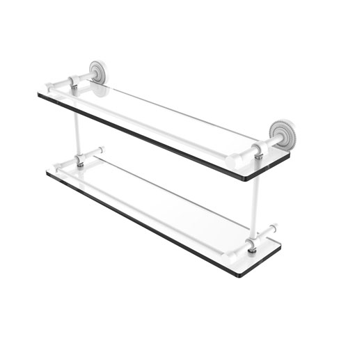 Dottingham Matte White 22-Inch Double Glass Shelf with Gallery Rail