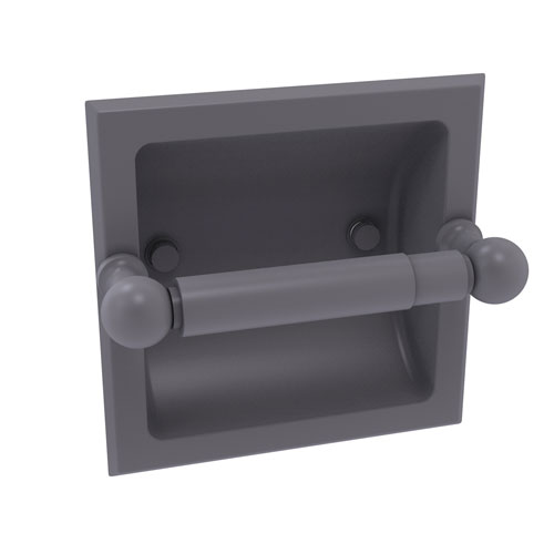 Dottingham Matte Gray Six-Inch Recessed Toilet Paper Holder