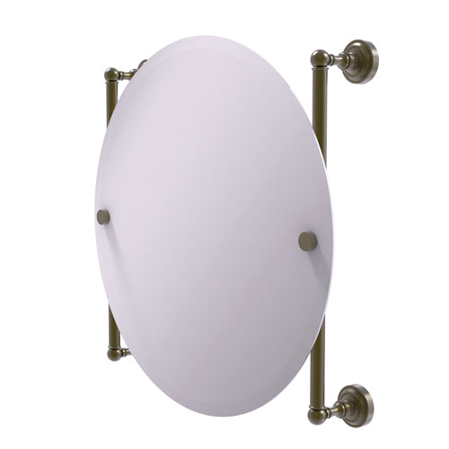 Dottingham Antique Brass 22-Inch Round Frameless Rail Mounted Mirror