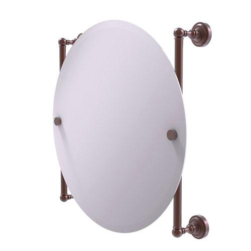 Dottingham Antique Copper 22-Inch Round Frameless Rail Mounted Mirror
