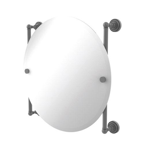 Dottingham Matte Gray 22-Inch Round Frameless Rail Mounted Mirror