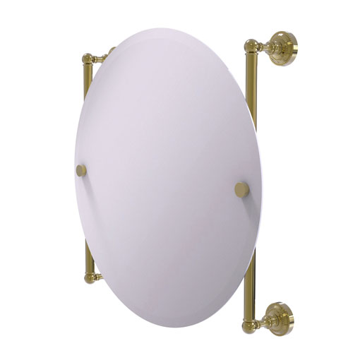 Dottingham Unlacquered Brass 22-Inch Round Frameless Rail Mounted Mirror