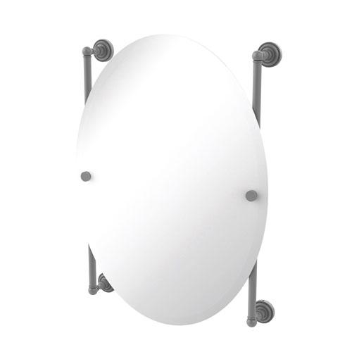 Dottingham Matte Gray 21-Inch Oval Frameless Rail Mounted Mirror