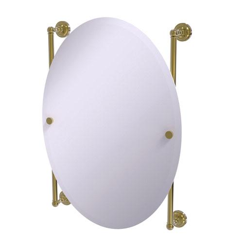 Dottingham Unlacquered Brass 21-Inch Oval Frameless Rail Mounted Mirror