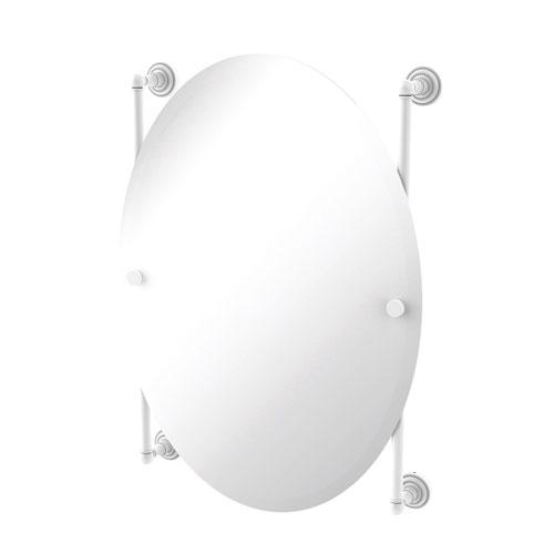 Dottingham Matte White 21-Inch Oval Frameless Rail Mounted Mirror