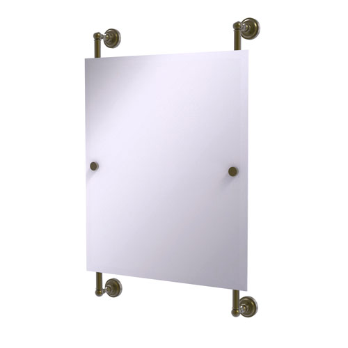 Dottingham Antique Brass 21-Inch Rectangular Frameless Rail Mounted Mirror